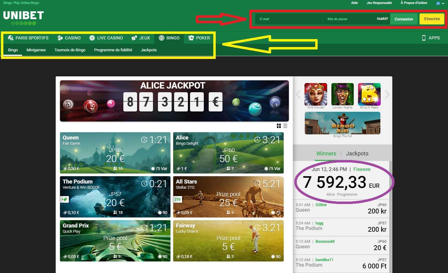 Les utilisateurs peuvent jouer au poker sur le site de bureau d'Unibet